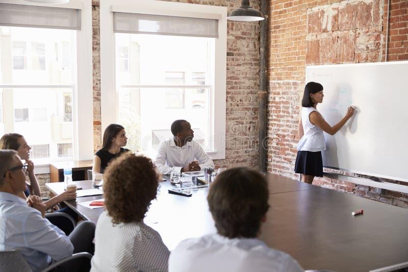Apresentação de At Whiteboard Giving da mulher de negócios na sala de reuniões fotografia de stock royalty free