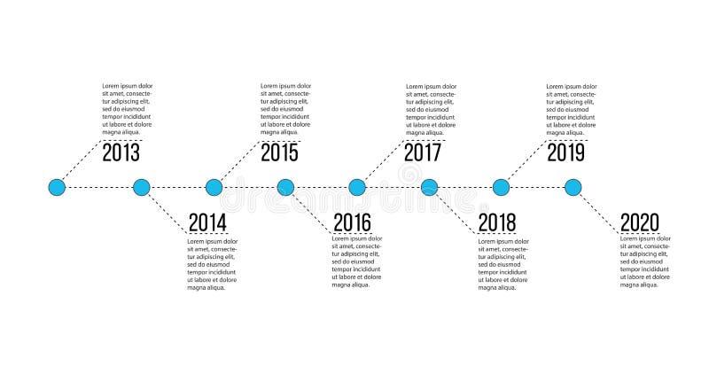 A apresentação do espaço temporal para 8 vetores do projeto dos anos, do infographics do espaço temporal e negócio da apresentaçã ilustração royalty free