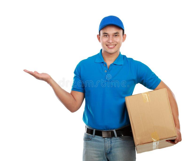 Apresentação do homem de entrega fotos de stock