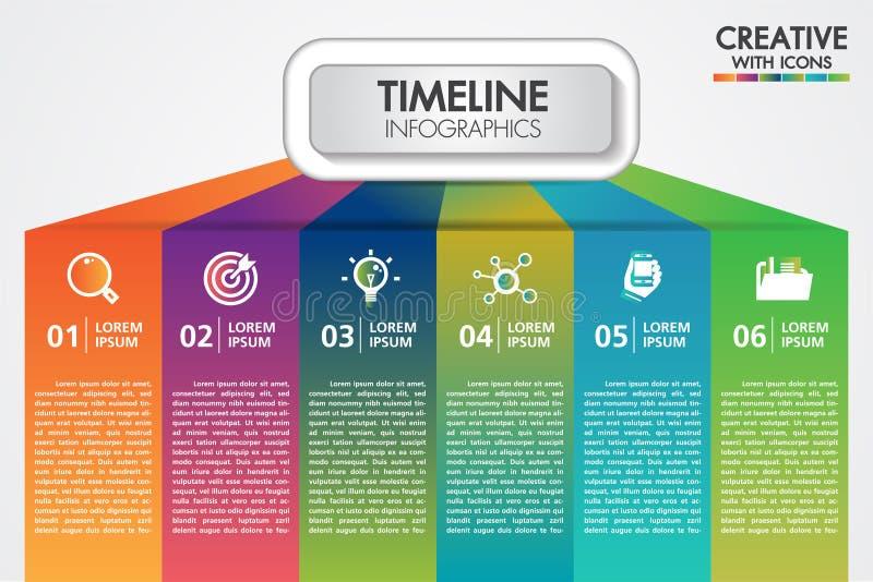 A apresentação do infographics do negócio do vetor com 6 etapas ou as opções projetam com ícones Pode ser o lugar usado para o te ilustração stock