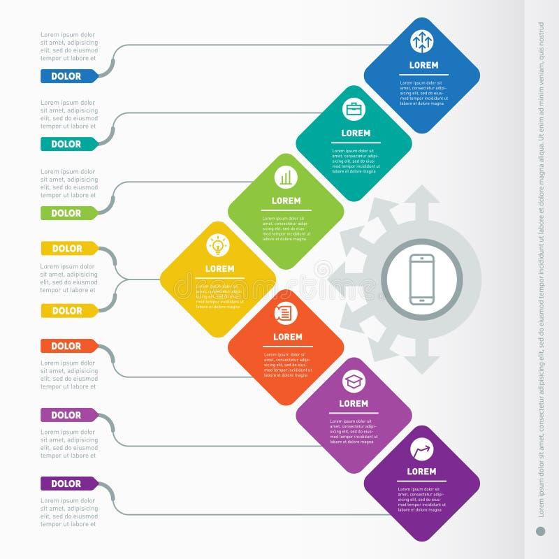 Apresentação do negócio com 7 opções Molde da Web de um cha da informação ilustração royalty free