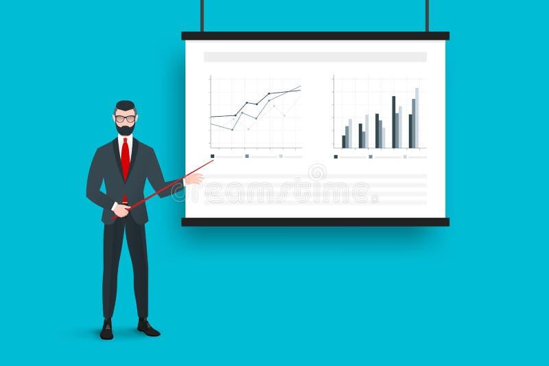 Apresentação do negócio na tela do projetor com gráficos de Absract e o treinador na moda Conceito liso do vetor ilustração do vetor
