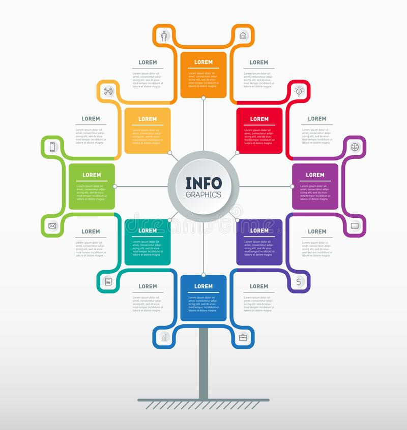 Apresentação do negócio ou conceito do infographics com 8 opções Molde da Web da árvore, da carta da informação ou do diagrama r ilustração royalty free