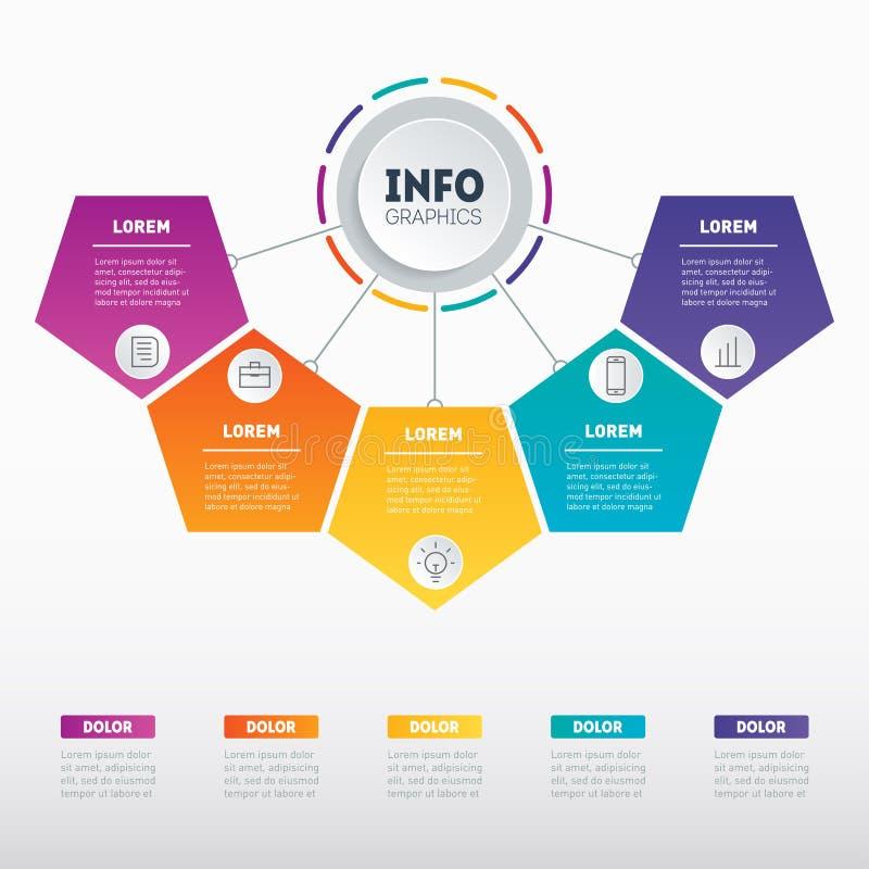 Apresentação do negócio ou infographic com 5 opções Informação de vetor ilustração do vetor