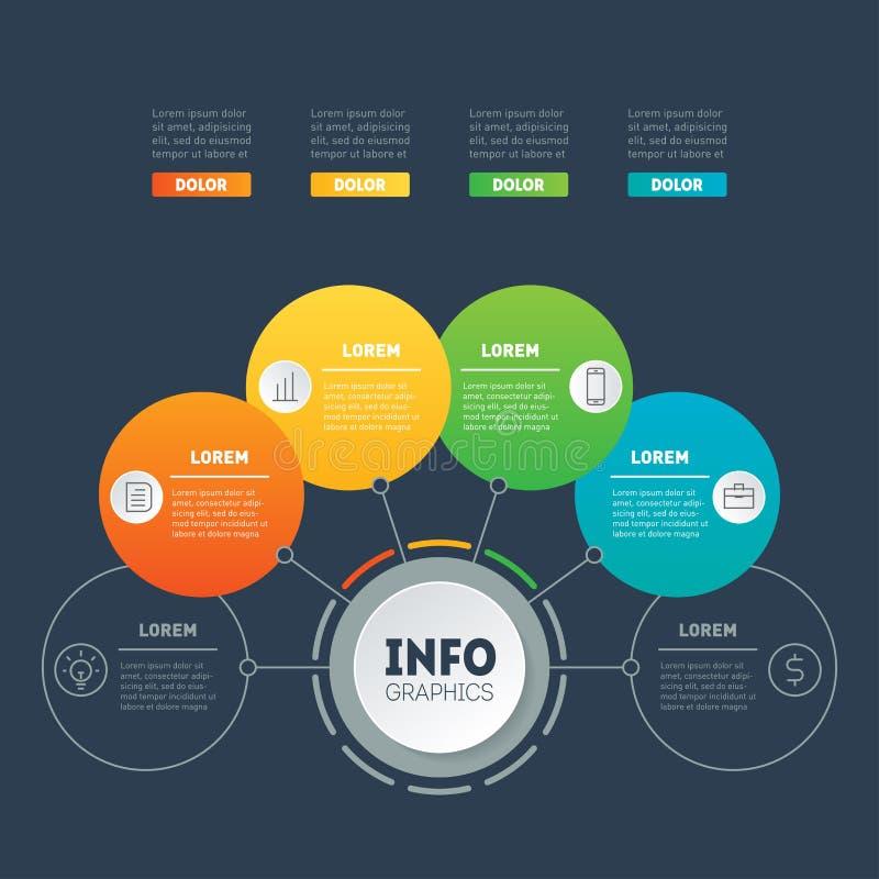Apresentação do negócio ou infographic com 4 opções Informação de vetor ilustração royalty free