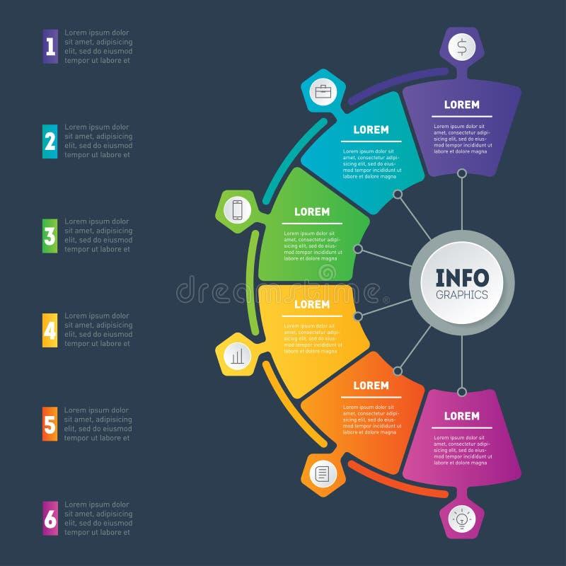 Apresentação do negócio ou infographic com 6 opções Web Templat ilustração royalty free