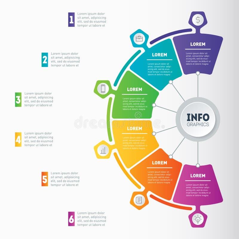 Apresentação do negócio ou infographic com 6 opções Web Templat ilustração do vetor
