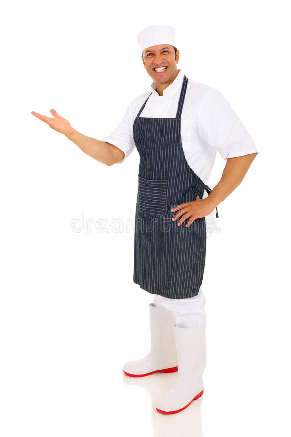 Apresentação envelhecida meio do cozinheiro chefe imagem de stock