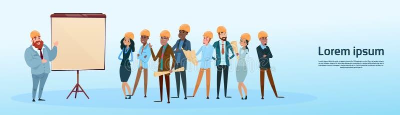Apresentação Flip Chart Training Conference Meeting de Team Architect Mix Race Workers do construtor ilustração royalty free