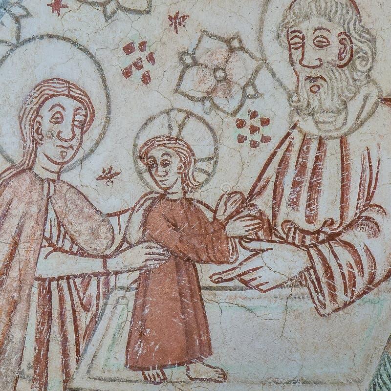 A apresentação no templo, o padre Zacharias guarda o bebê Jesus em um altar imagem de stock