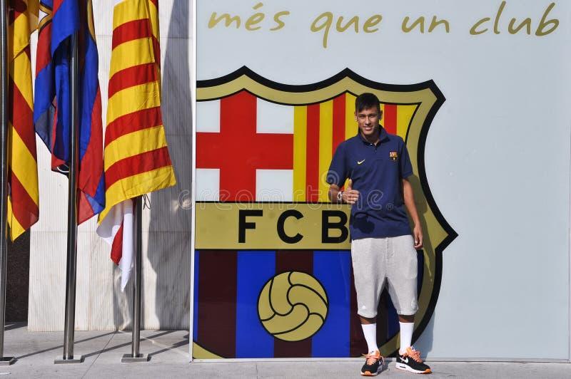 Apresentação oficial do júnior de Neymar como o jogador do FC Barcelona imagem de stock