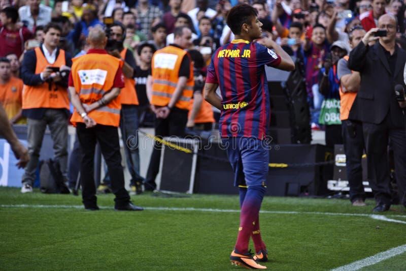 Apresentação oficial do júnior de Neymar como o jogador do FC Barcelona fotografia de stock