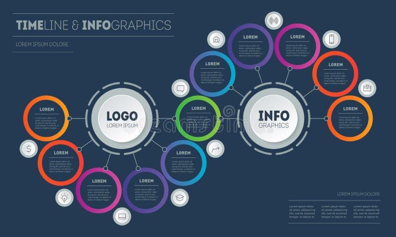 Apresentação ou infográficos com 11 passos Modelo de Info Gráfico para processo tecnológico ou educacional com onze opções ilustração royalty free