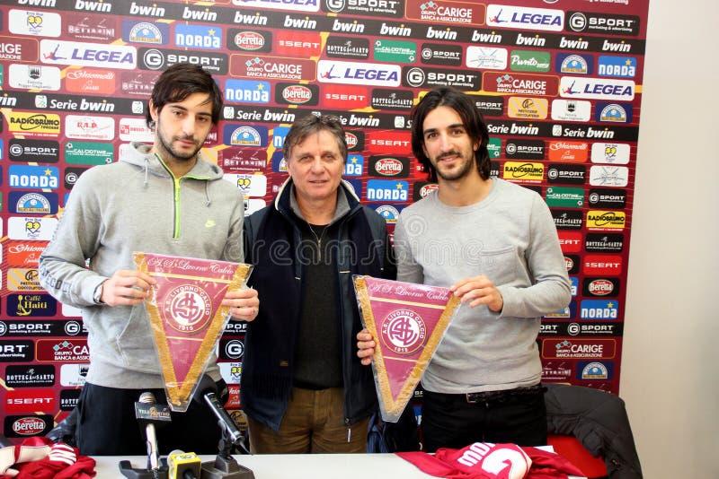 Apresentação Sini e Morosini de Livorno do futebol fotos de stock royalty free
