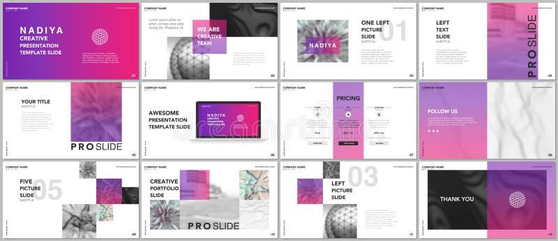 Apresentações mínimas, moldes do portfólio Elementos cor-de-rosa em um fundo branco Projeto do vetor da tampa do folheto ilustração royalty free