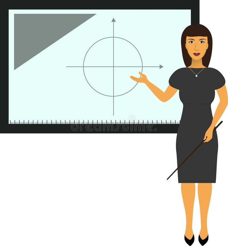 Apresentador da tevê, repórter, professor no quadro-negro interativo ilustração stock