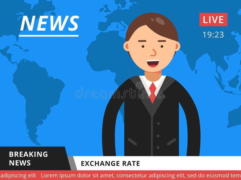 Apresentador na televisão Ilustração quente do vetor das notícias de última hora ilustração stock