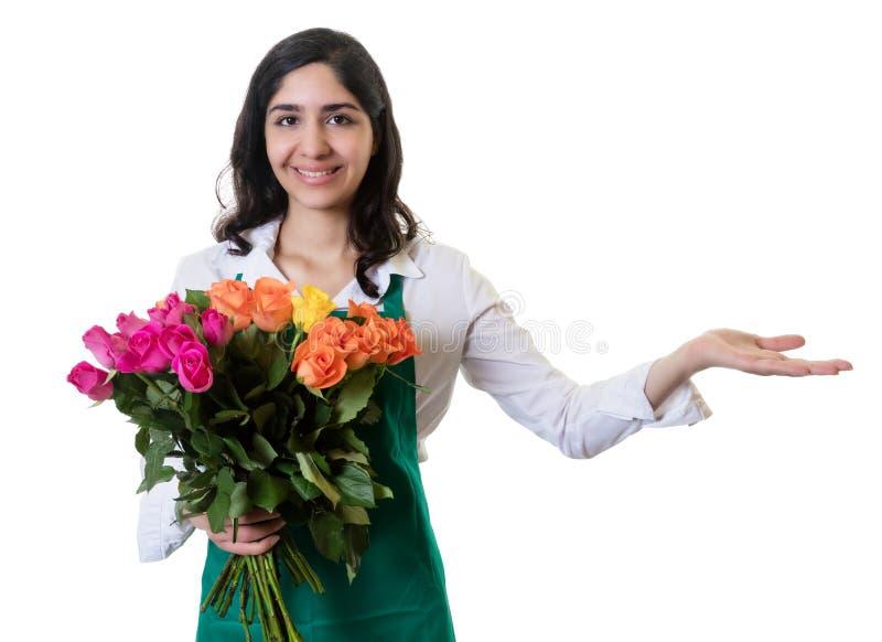 Apresentando o florista fêmea árabe foto de stock