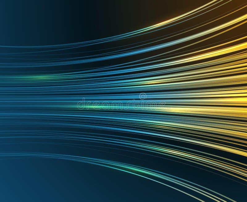 Apresse das curvas azuis da luz do movimento o fundo abstrato do gráfico de vetor da tecnologia ilustração stock