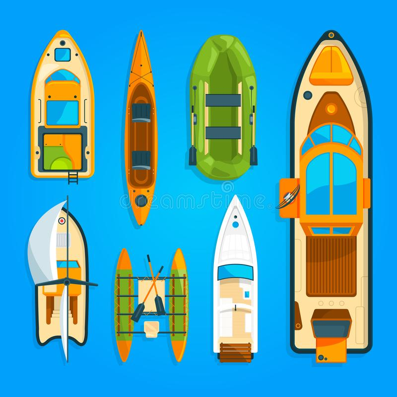 Apresse o barco de motor, o navio do mar, o iate e o outro transporte marinho As imagens do vetor ajustaram a vista superior ilustração do vetor