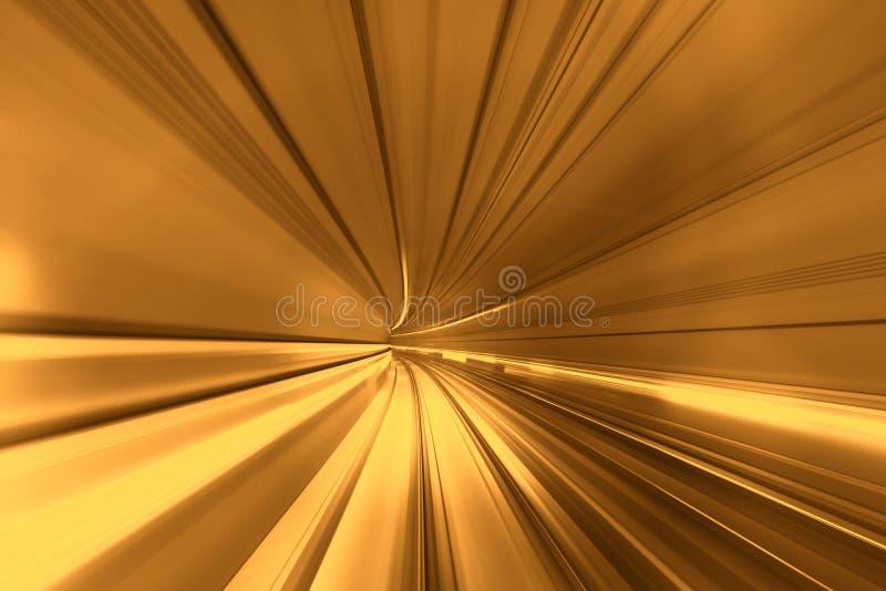 Apresse o movimento borrado do trem ou do metro que movem-se dentro do tunn ilustração do vetor