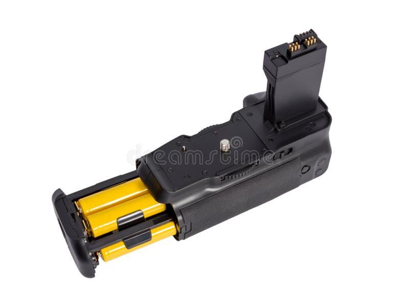 Apretón de la batería para la cámara moderna de DSLR imágenes de archivo libres de regalías