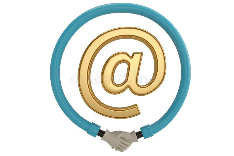 Apretón de manos alrededor del icono del correo electrónico en el fondo blanco ilustración 3D ilustración del vector