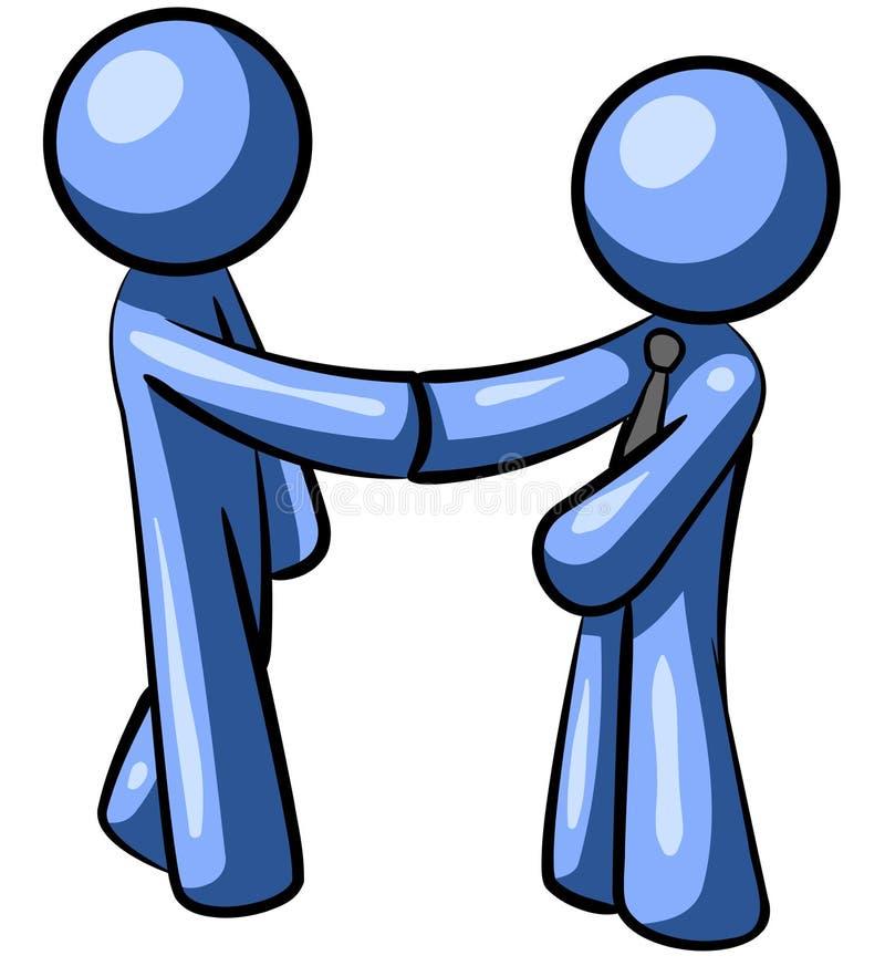 Apretón de manos azul de los hombres stock de ilustración