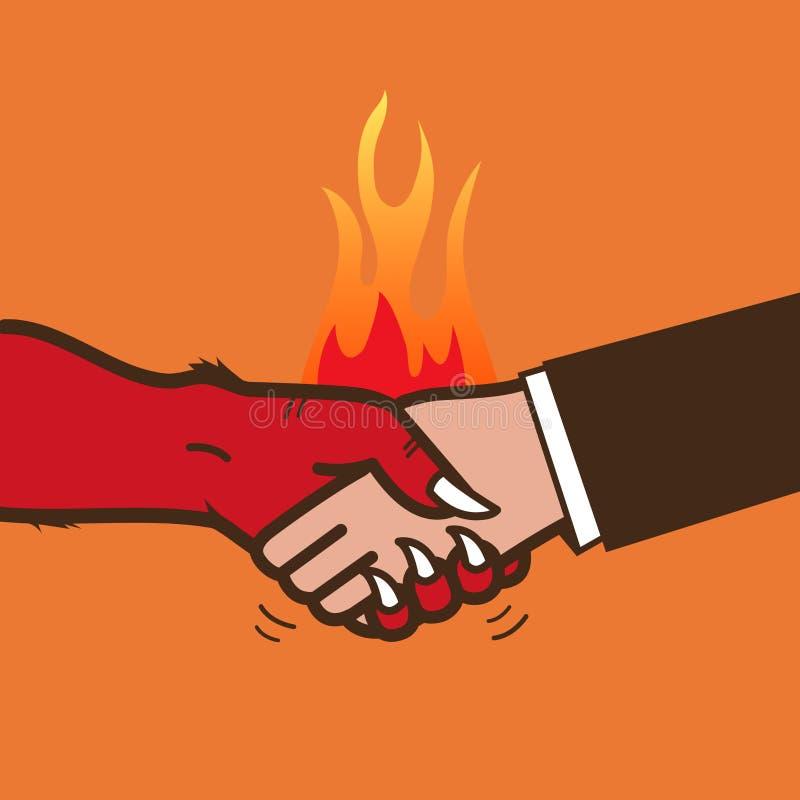 Apretón de manos con el diablo ilustración del vector