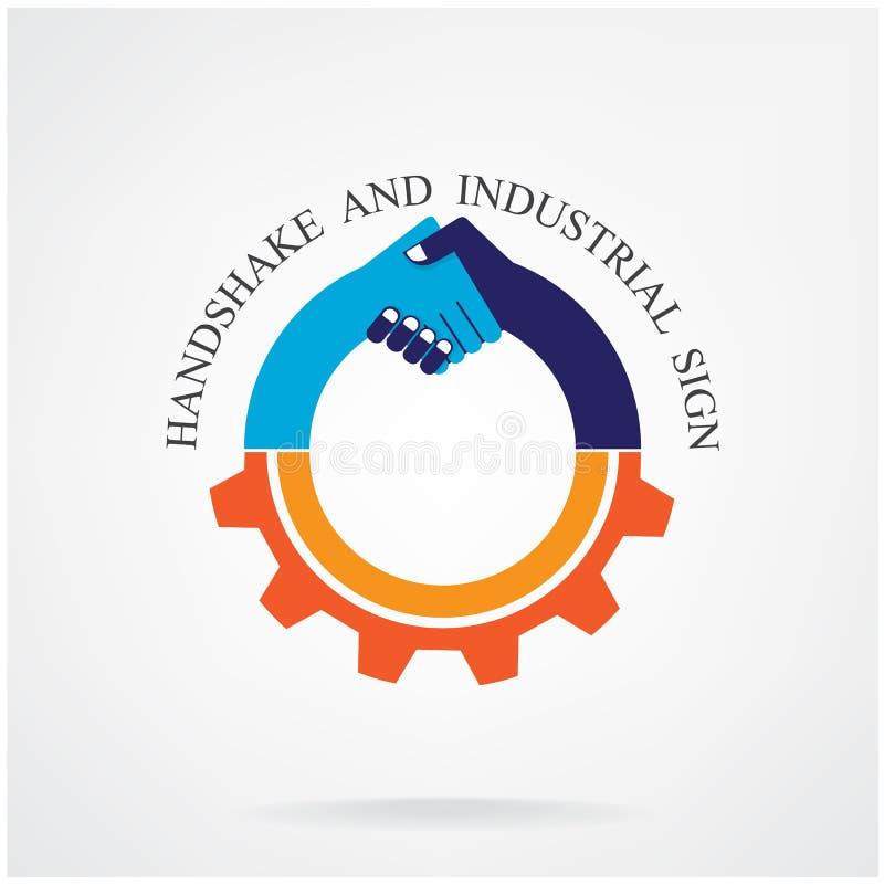 Apretón de manos creativo e idea industrial stock de ilustración
