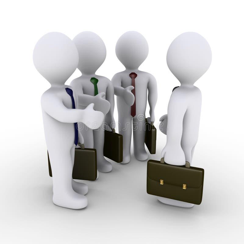 Apretón de manos de la oferta de tres hombres de negocios ilustración del vector