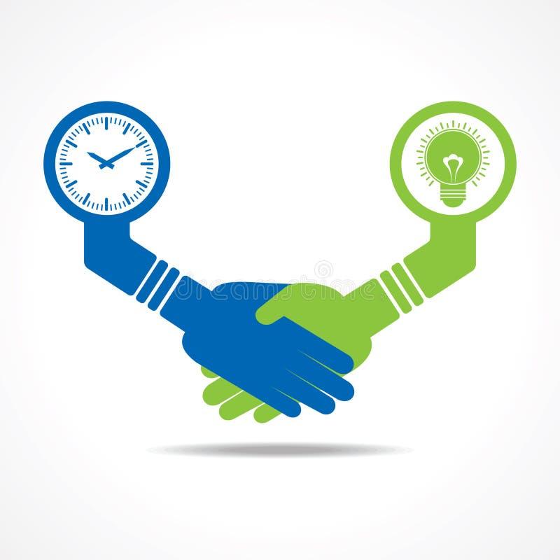 Apretón de manos de los hombres de negocios entre los hombres que tienen idea y tiempo stock de ilustración