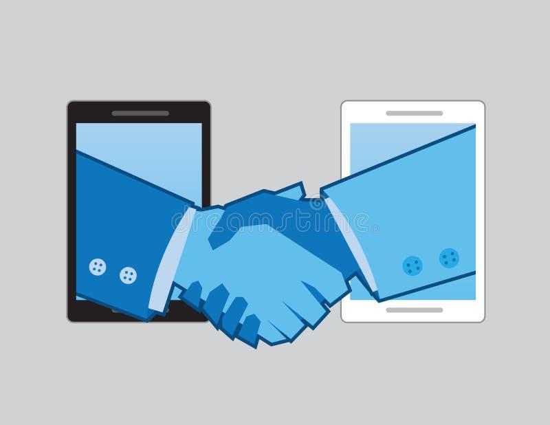 Apretón de manos de los teléfonos stock de ilustración