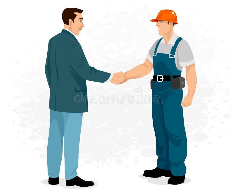 Apretón de manos del constructor con el cliente ilustración del vector