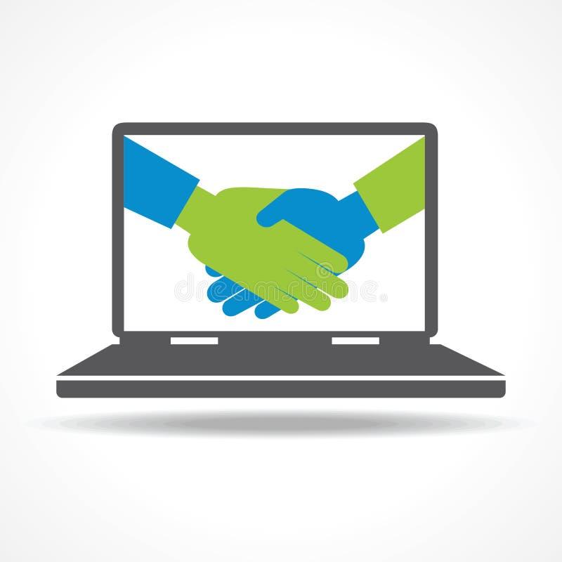 Apretón de manos del hombre de negocios en fondo del ordenador portátil stock de ilustración