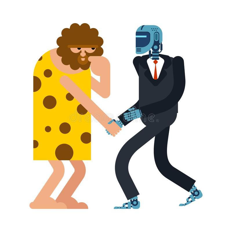 Apretón de manos del hombre de las cavernas y del Cyborg Robot y contrato prehistórico del hombre Inteligencia artificial y hombr ilustración del vector