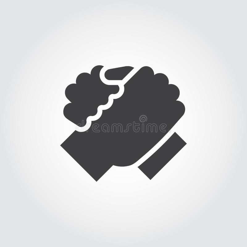 Apretón de manos del icono de dos personas en estilo plano stock de ilustración