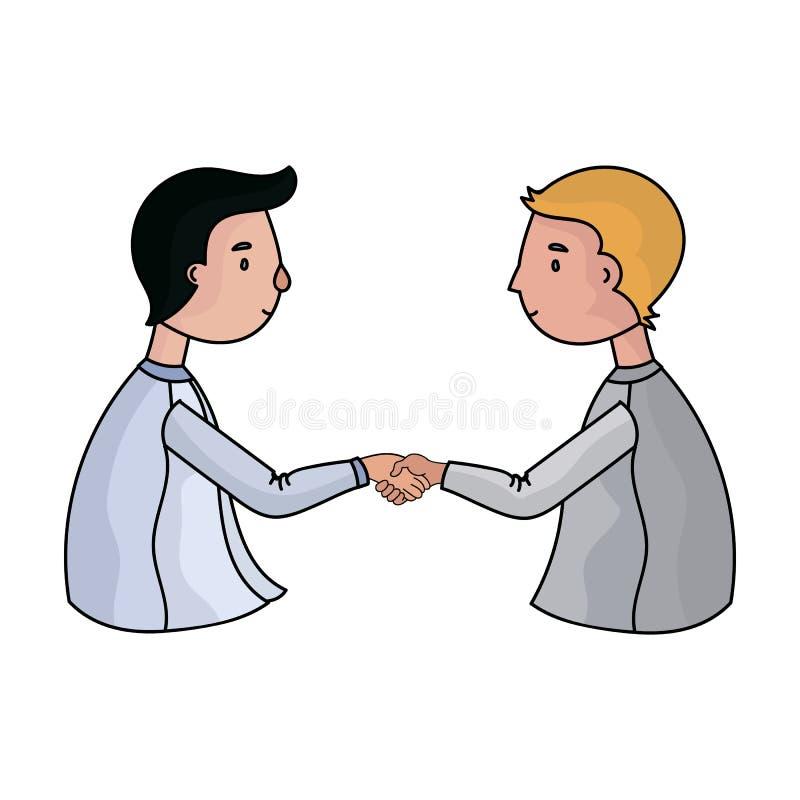 Apretón de manos del icono de los hombres de negocios en estilo de la historieta aislado en el fondo blanco ilustración del vector