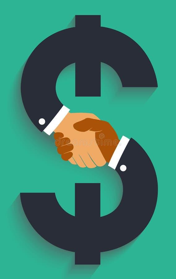 Apretón de manos del icono del vector en muestra del dinero ilustración del vector