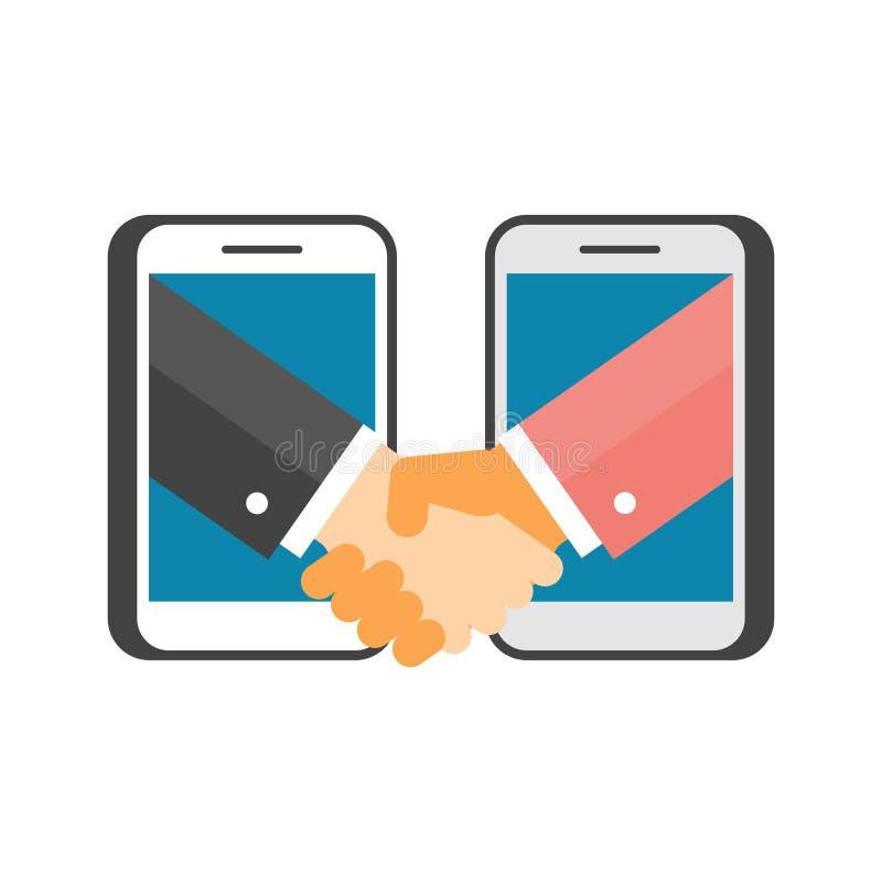 Apretón de manos del negocio vía los teléfonos libre illustration
