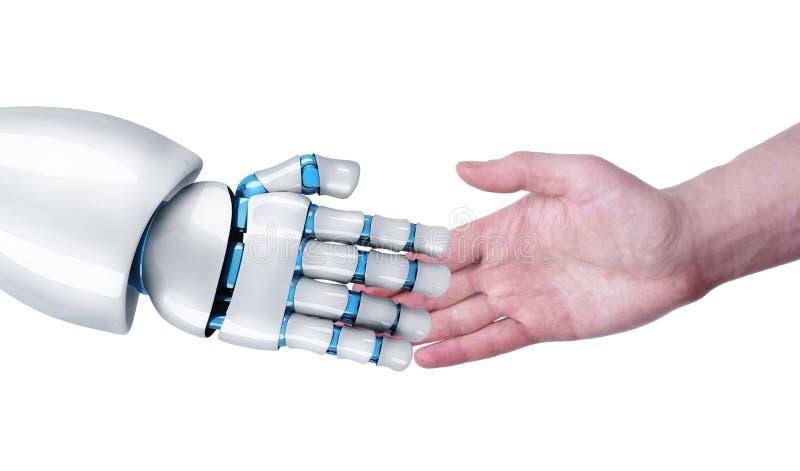 Apretón de manos del robot y del ser humano ilustración del vector