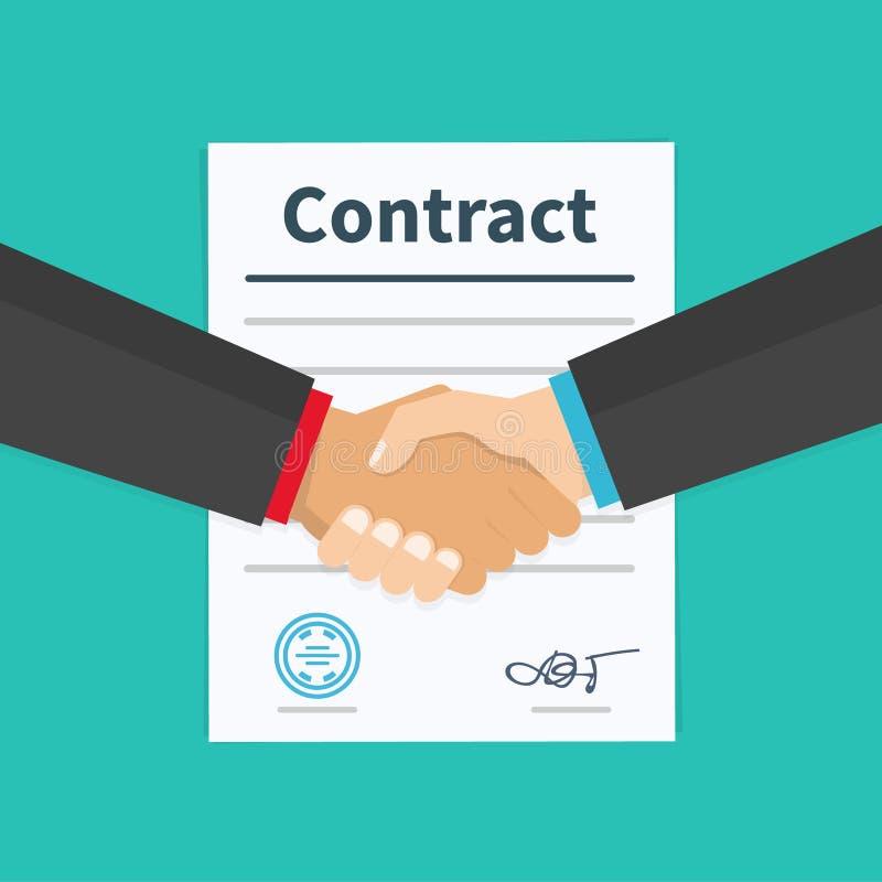 Apretón de manos del socio comercial de la reunión del contrato del trato de los socios comerciales Conceptos para las banderas d libre illustration