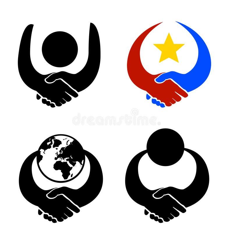 Apretón de manos del vector de la insignia de la reunión libre illustration