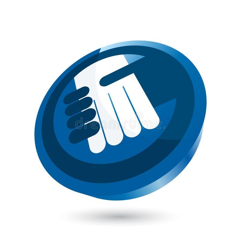 Apretón de manos en icono azul ilustración del vector