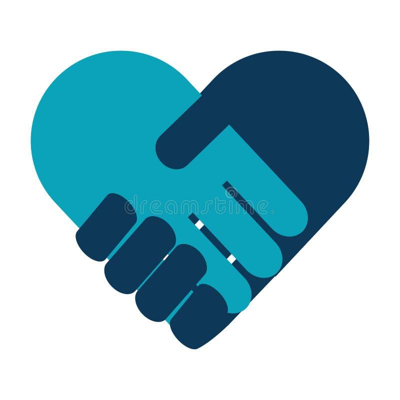 Apretón de manos en icono del corazón stock de ilustración