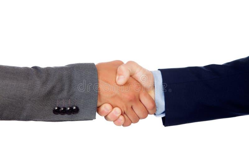 Apretón de manos entre dos hombres de negocios fotos de archivo