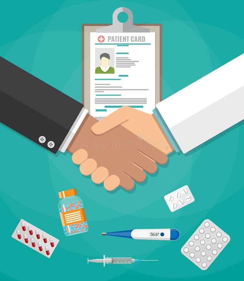 Apretón de manos entre el doctor y el paciente stock de ilustración