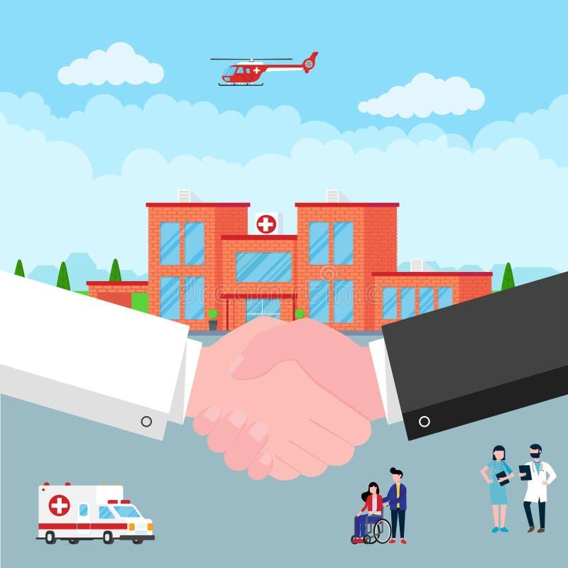 Apretón de manos entre el doctor y el paciente detrás del coche del edificio, del doctor, de la enfermera, de los pacientes, del  ilustración del vector