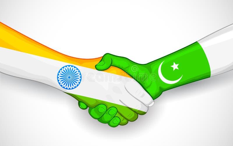 Apretón de manos entre la India y Paquistán stock de ilustración