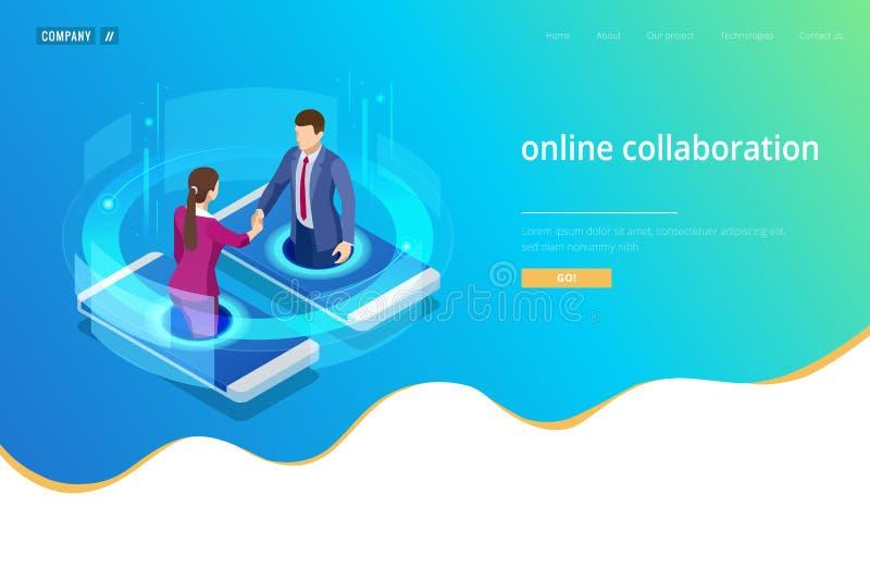 Apretón de manos isométrico del negocio, colaboración en línea global, colaboración del equipo, red social, y buscar concepto ilustración del vector